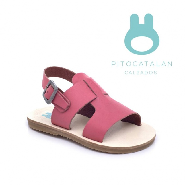sandalia de cuero tiras gruesas rosada niña Pitocatalan Primavera verano 2019