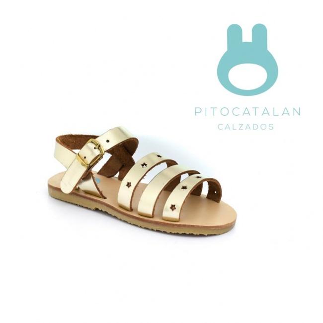 sandalia dorada para niña sandalia de cuero tiras gruesas abrojo Pitocatalan Primavera verano 2019