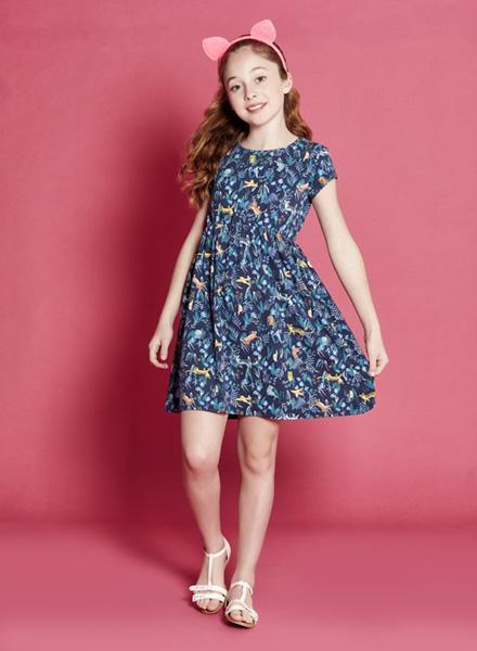 vestido azul estampado mangas cortas niña Nucleo nenas verano 2019