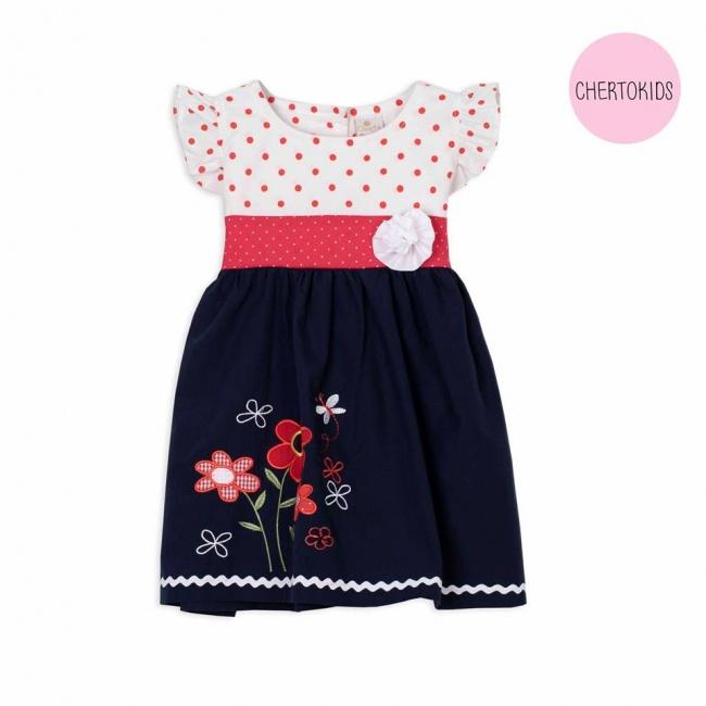 vestido beba combinado con aplique de flor bordada Cherto Kids primavera verano 2019