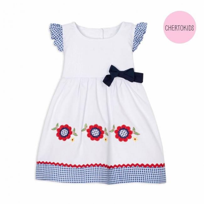 vestido blanco beba con recorte cuadrille Cherto Kids primavera verano 2019