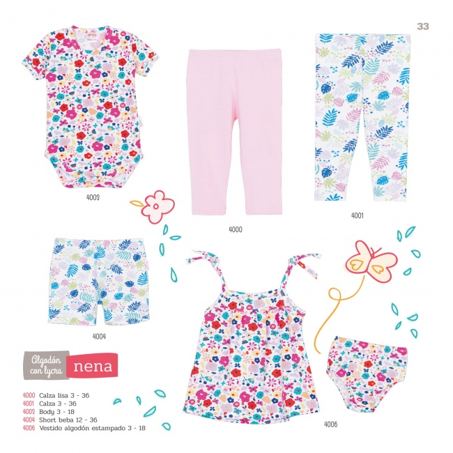 vestido de algodon estampado y calzas para beba Naranjo verano 2019