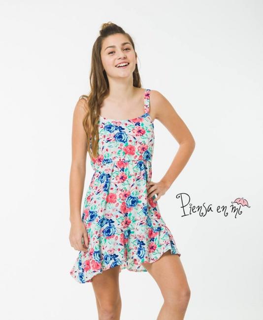 c07290005 vestido de fibrana estampada para niñas Piensa en mi verano 2019 ...
