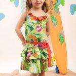 vestido estampa tropical con volado niña a croquer verano 2019