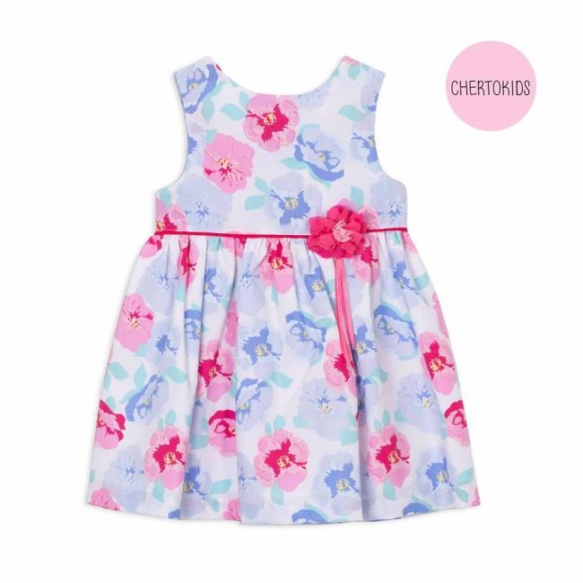vestido floreado con aplique de flor Cherto Kids primavera verano 2019
