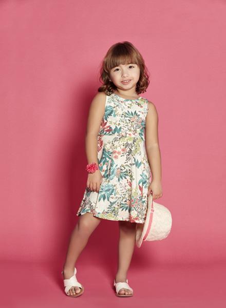 vestido para niña musculosa ancha estampa tropical Nucleo nenas verano 2019