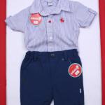 camisa a rayas y bermuda gabardina para bebe Solcito primavera verano 2019