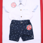camisa blanca con bermuda jeans bebe ideal fiesta o bautismo Solcito primavera verano 2019