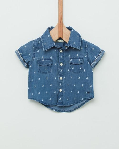 camisa denim mangas cortas bebes Wanama Boys Girls verano 2019