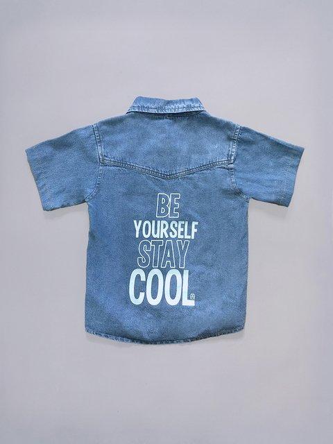 camisa denim niño con espalda con impresion que brilla en la oscuridad Pecosos verano 2019
