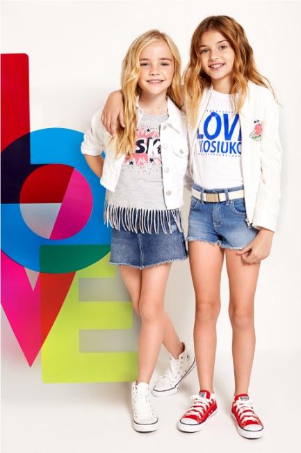 minifalda y campara jeans niñas Kosiuko Kids primavera verano 2019