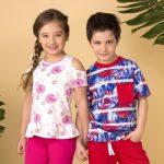 remera blanca con flores rosa para niñas Gretty verano 2019