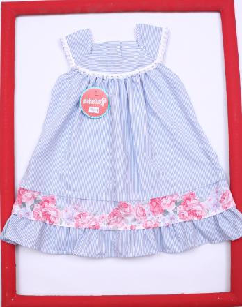vestido a rayas con guarda floreada para beba Solcito primavera verano 2019