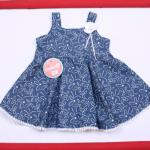vestido azul con flores blancas para beba Solcito primavera verano 2019
