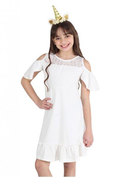 vestido blanco con encaje para niña urbanito verano 2019