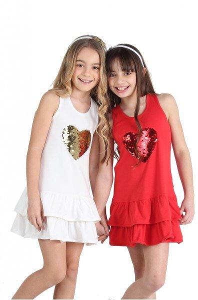 vestido corto con corazon de lentejueals niñas urbanito verano 2019