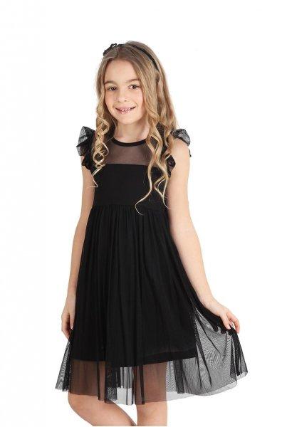 vestido corto de fiesta microtul negro niña urbanito verano 2019