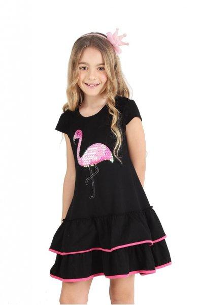 vestido corto negro con flamenco para niña urbanito verano 2019