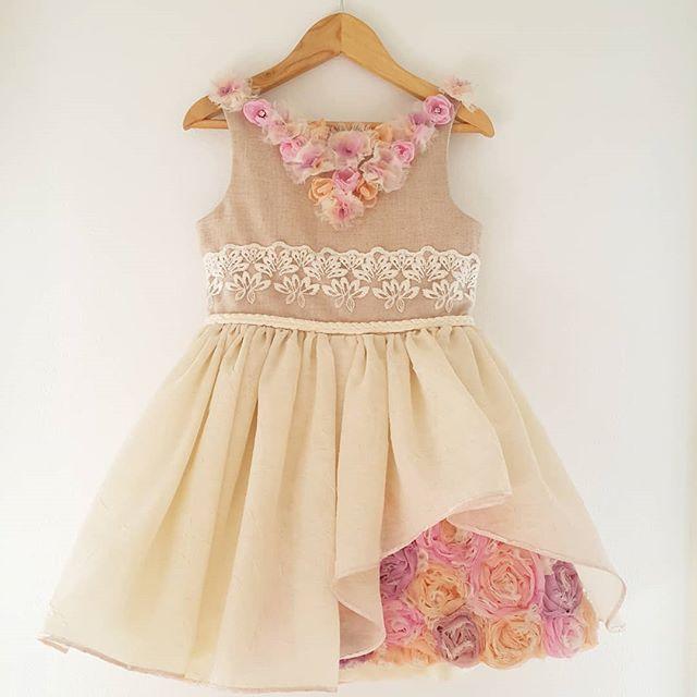 vestido de fiesta para niñas con apliques de flores Girls Boutique verano 2019