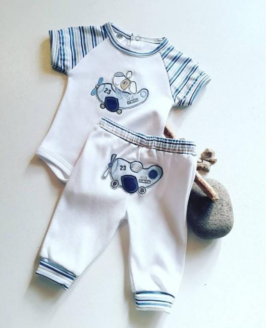 boby mangas cortas y pantalon bebe Globito team verano 2019