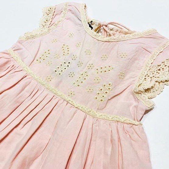vestido rosa guipiur beba Little akiabara verano 2019