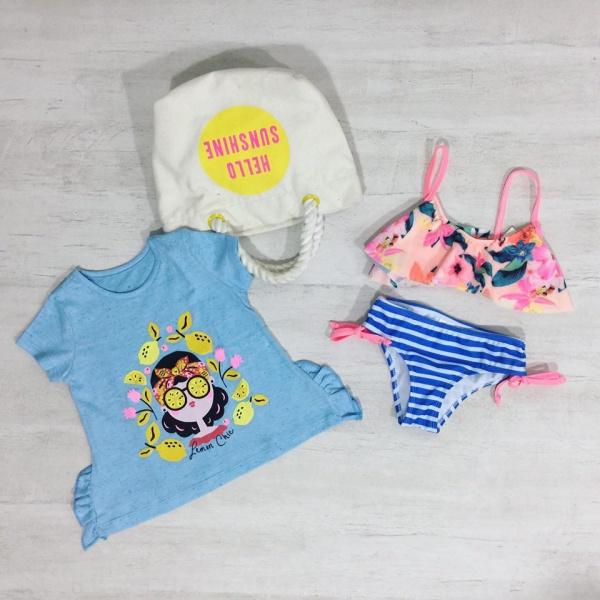 bikini para beba rayas volados Crayon verano 2019