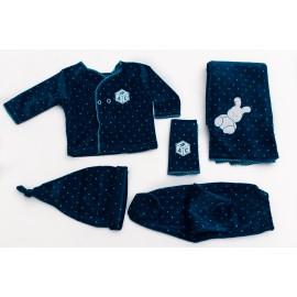 ajuar-con-manta-en-plush-estampado azul Bebes Cocomiel otoño invierno 2019