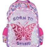 mochila colegial Footy 2019 mariposa lentejuelas y led