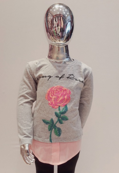 remera mangas largas con flor bordada para niña zizi otoño invierno 2019