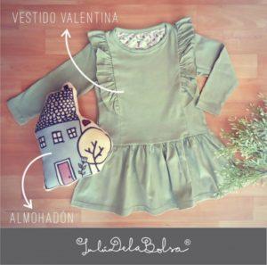 vestido de algodon mangas largas con volados para niña Lulu delabolda invierno 2019 1