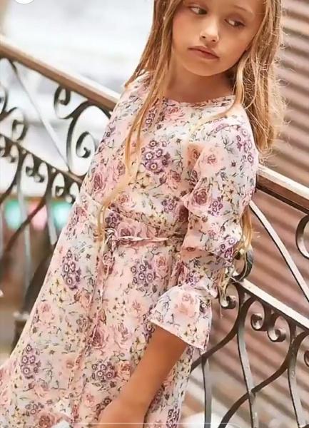 vestido floreado rosa niña mangas largas Anavana otoño invierno 2019 1