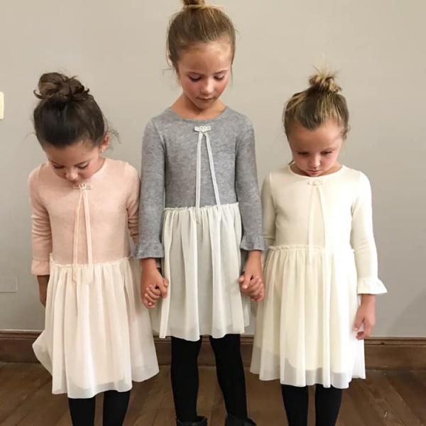 gro web vestido mangas largas lanilla y microtul niña otoño invierno 2019