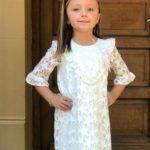 vestido blanco de fiesta para niña Gro web otoño invierno 2019
