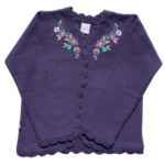 cardigan lana con bordado niña tejidos Pompas invierno 2019