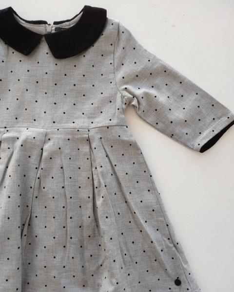 vestido gris niña Little Akiabara invierno 2019