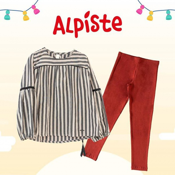 camisola a rayas con calza gamuzada niña alpiste otoño invierno 2019