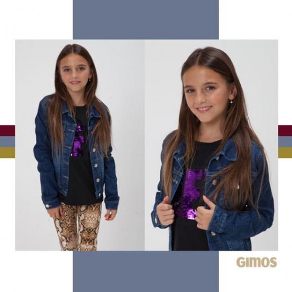 campera jeans y calza animal print niña gimos invierno 2019