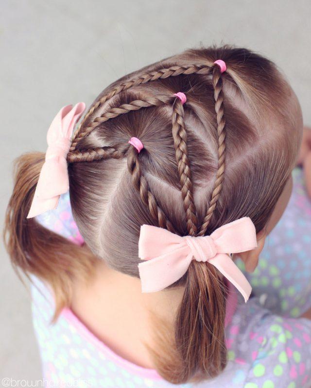 Trenzas en cabello corto para niña