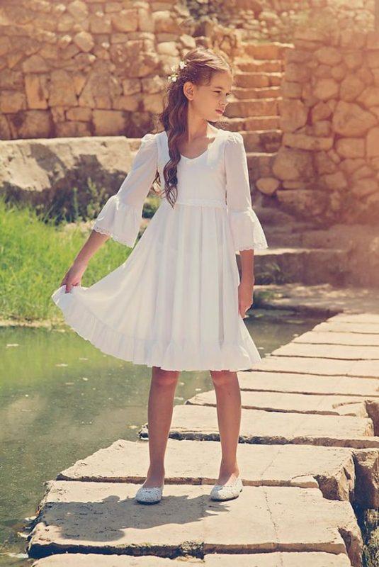 vestido-corto-con-mangas-con-volado-blanco-de-niña-para-comunion