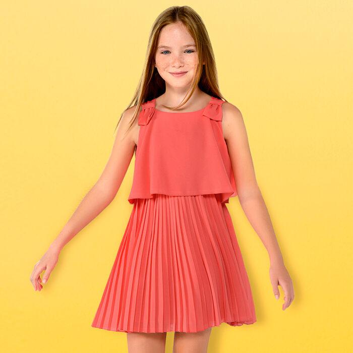 vestido-plidado-rosa-coral-niña-verano-2020
