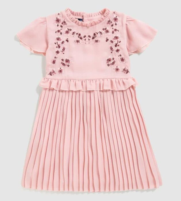 vestido-rosa-niña-falda-plisada-verano-2020