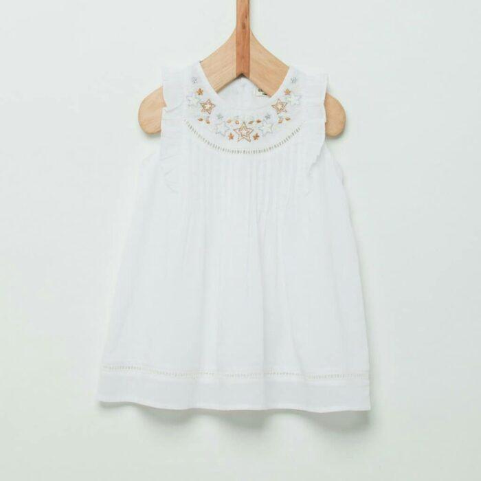 vestido-blanco-con-bordado-dorado-niña-wanama-Boys Girls verano-2020