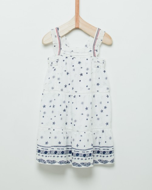vestido-blanco-con-estampa-azul-niña-Wanama Boys Girls-verano-2020