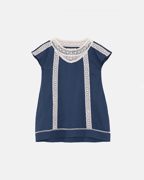 vestido-recto-azul-con-puntilla-blanca-niña-Wanama-Boys Girls-verano-2020