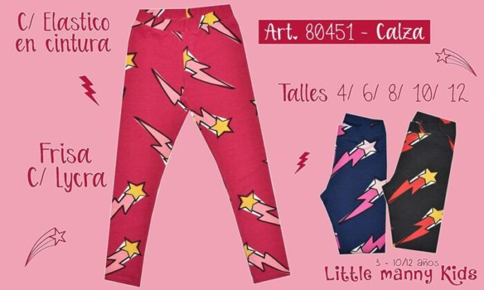 calzas estapadas con frisa para niñas invierno 2020 little manny