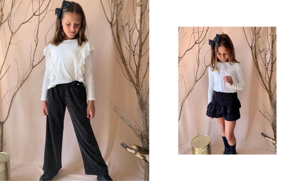 minifalda con blusa para niñas Gro web otoño invierno 2020
