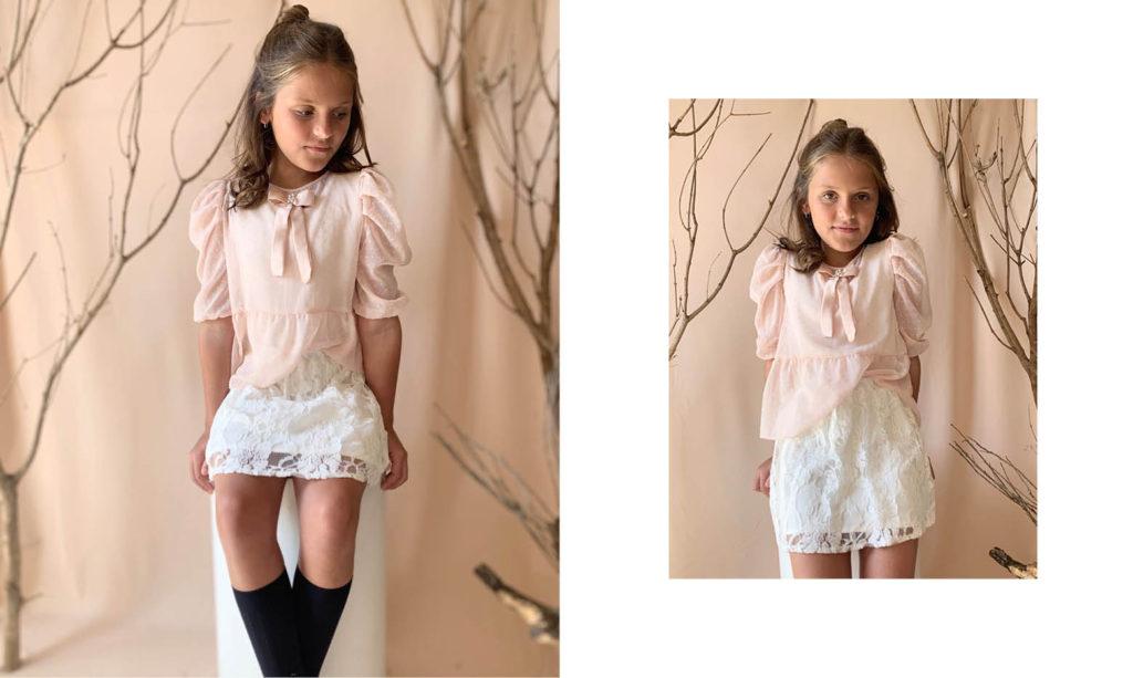 minifalda de encaje niña Gro web otoño invierno 2020