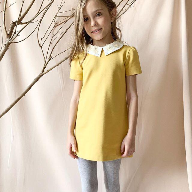 vestido amarillo de fiesta para niñas Gro web otoño invierno 2020