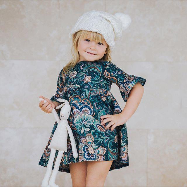 vestido falda y mangas plisadas para niñas waw invirno 2020