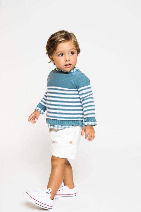 outfit con bermuda blanca niño